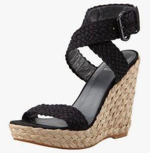 "Stuart Weitzman ""Alex"" woven wedge sandals, size 9"